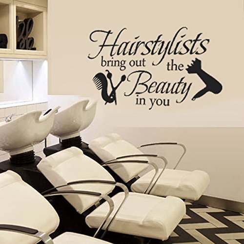 Hairstylists Bring Out The Beauty In You Vinyl Wall Decal Beauty Salon Shop Wall Sticker Wall Quotes Wall Letters Words Wall Graphic Wall Art Decoration Black
