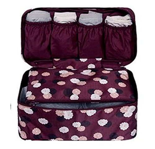 Hihihappy Folding New waterproof clothes organizer storage box underwear bra packing makeup make up organizer cosmetic cloth storage travel bags Purple PinkOne Size