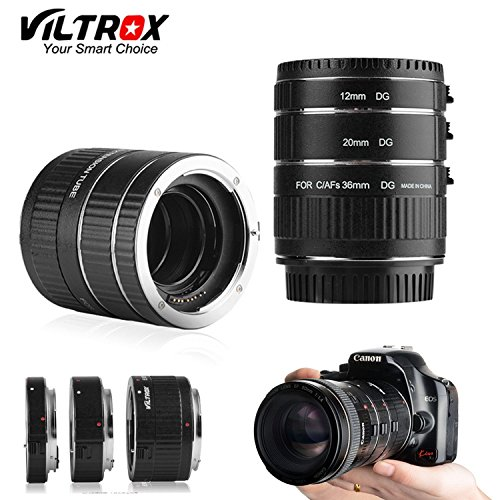 [ROHS CE ] VILTROX DG-C electronic AF Macro extension tube Auto Focus AF Macro lens Extension Tube Ring with Covers for Canon EF EF-S Lens DSLR (Extension Tubes Macro Lens)