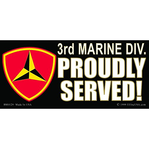 3rd Marine Division Proudly Served Bumper Sticker - Division Served Sticker Bumper Proudly