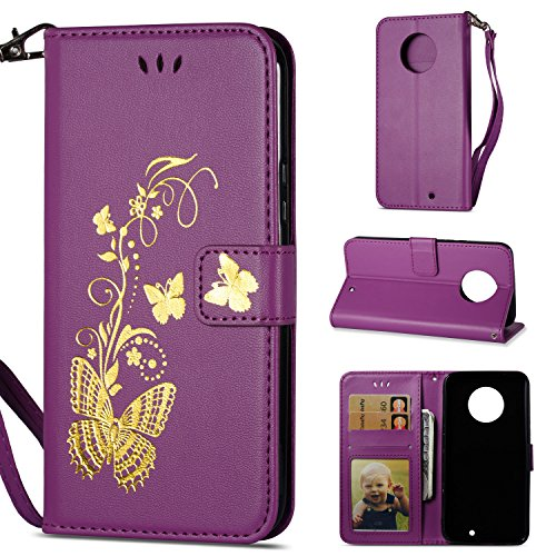 Price comparison product image Moto X4 Case, DAMONDY Golden Butterfly Luxury PU Leather Magnetic Flip Cover Card Holders & Hand Strap Wallet Purse Case for Motorola Moto X4 (2017)-Purple