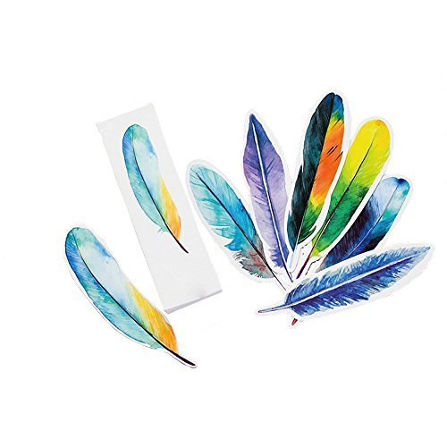 30 Pcs Bookmarks Set Feather Shaped by