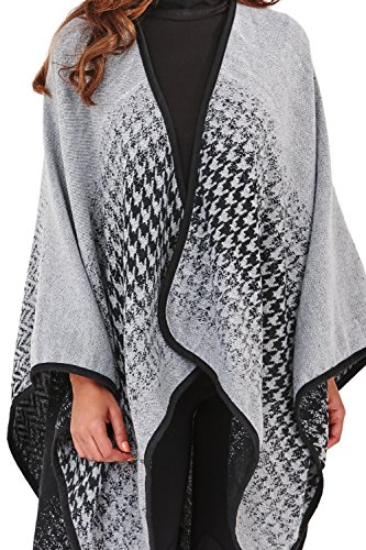 Loungeable Boutique - Chal - para mujer Charcoal Grey - Houndstooth