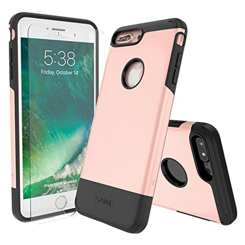 SAWE - iPhone 7 Plus Case Cover Heavy Duty Rugged Drop Protection Dual Layer Protective Armor for Apple iPhone 7 Plus 5.5 [Tempered Glass Screen Protector] (Rose Gold) Anti Shock Protection