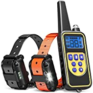 iSPECLE Dog Training Collar, Waterproof Rechargeable 2600ft Remote Dog Shock Collar with LED Light/Beep/Vibration/Shock for Medium/Large Dogs Contain 2 Electronic Collar Receivers