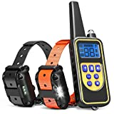 Dog Training Collar - iSPECLE Waterproof Rechargeable 2600ft Remote Dog Shock Collar with LED Light Beep Vibration Shock for Medium Large Dogs Contain 2 Electronic Collar Receivers
