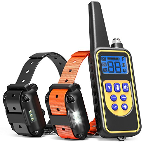 Dog Training Collar, iSPECLE Waterproof Rechargeable 2600ft Remote Dog Shock Collar with LED Light / Beep / Vibration / Shock for Medium / Large Dogs Contain 2 Electronic Collar Receivers