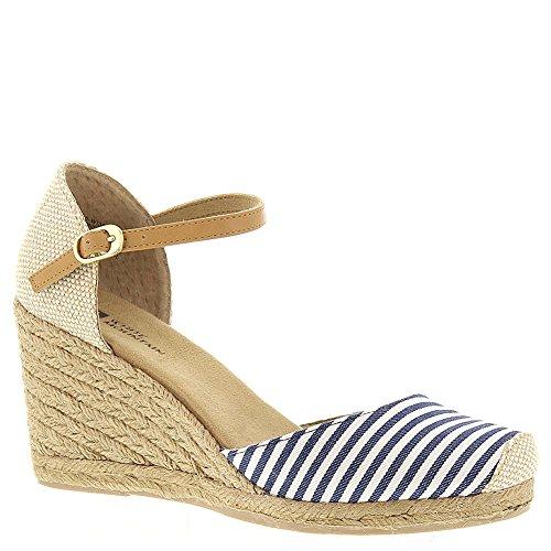 Sandalo Con Zeppa Espadrilla Bianca Da Donna Di Montagna A Righe Blu Navy