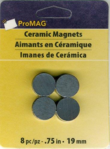 ProMag AFG12507 Round Ceramic Magnet, 0.75-Inch, 8-Pack