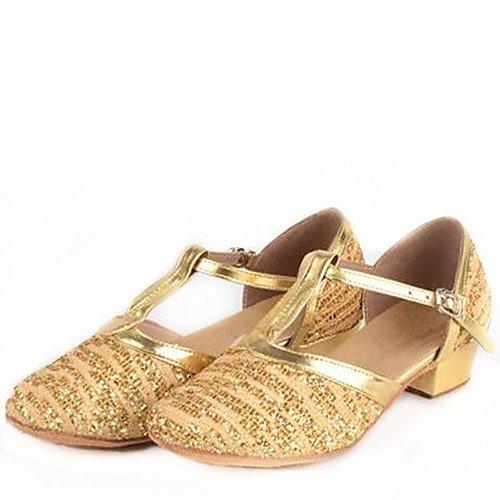 Heel Shoes Kid's Q T Cuban Dance Golden Golden Paillette T qFS0wn