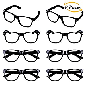 Aneco 8 Pieces Kids Wizard Nerd Glasses Rectangle Glasses Frame No Lenses For Children's Costume Party Supplies (Black)