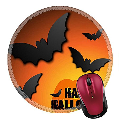 Clipart Halloween Costumes (Liili Mouse Pad Natural Rubber Round Mousepad Halloween Bat Pumpkin Background Image ID 22385037)