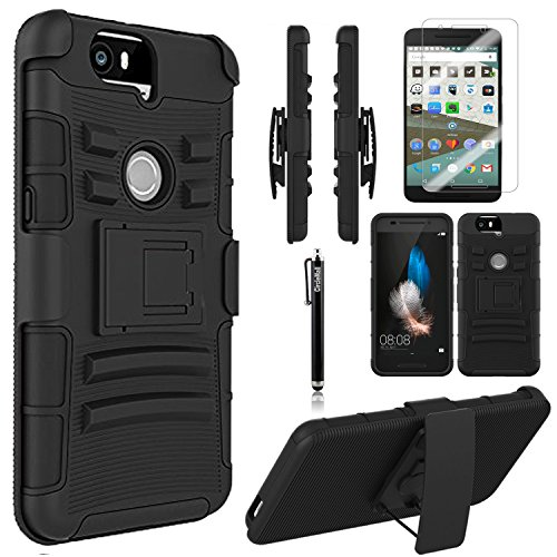 Nexus 6P Case, Combo Rugged Shell Cover Holster with Built-in Kickstand and Belt Clip + Circle(TM) Stylus Touch Screen Pen And Screen Protector Black