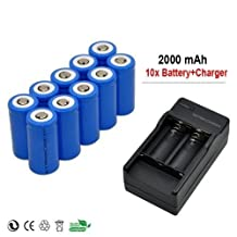 10x 2000mah 3.7v Cr123a 16340 Li-ion Rechargeable Battery +Charger
