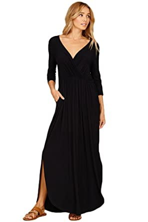 dc57e14c490 Annabelle U.S.A Women s V-Neck Wrap Front Pleated Side Pocket Maxi Dress  Black Small D5241B