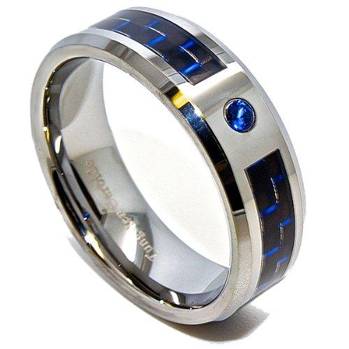 8mm Black & Blue Carbon Fiber Inlay Blue Solitaire Tungsten Wedding Ring Size 10.5 (10 1/2)