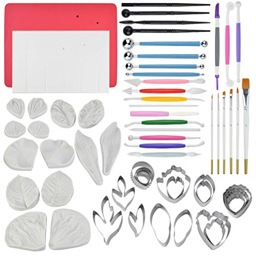 (62pcs Gumpaste Flowers and Leaves Fondant Tool Leaf Tool Kit Gum Paste Flower Cutter Set Stainless Steel Flower Cutter Silicone Molds Foam Pad Veining Board Ball Tools Modelling Tools Brushes)