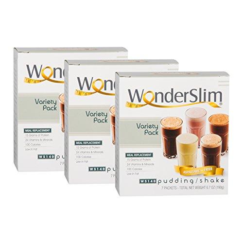 WonderSlim Aspartame Free Diet 15g Protein Shake & Pudding Mix (Variety Pack, 3 Boxes - SAVE 5%)