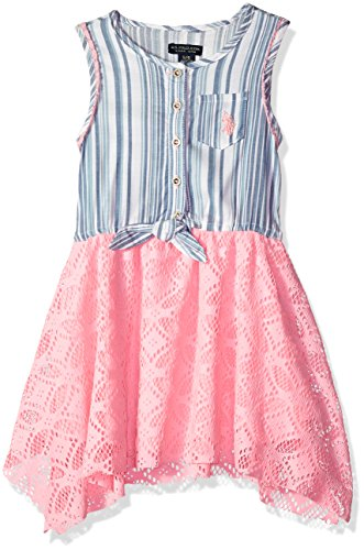 - U.S. Polo Assn. Girls' Little Casual Dress, Hankie Hem Multi, 4