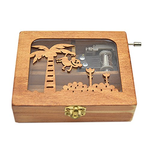 Anlydia Vintage Wooden Animal Pattern Hand Cranked Jewelry Music Box Trinket Box (Monkey) Monkey Music Box
