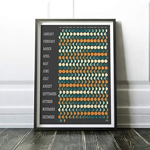 - 2019 Calendar, Lunar Calendar 2019, Celestial Calendar, Moon Calendar 2019, Yearly Planner, Wall Calendar, Moon Phases Chart, Retro Calendar