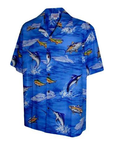 Pacific Legend Mens Deep Water Ocean Fish Shirt in Blue - XL