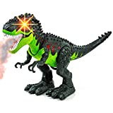 Toysery Simulated Flame Spray Tyrannosaurus T-Rex Dinosaur Toy for Kids - Walking Dinosaur Fire Breathing Water Spray Mist with Red Light & Realistic Sounds