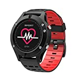 Bluetooth Watch Men, JiiJian Sport Watch with Heart Rate Monitor GPS Feature Bracelet Pedometer Waterproof IP67 Smart Band Fitness Tracker for Android iOS iPhone-Red