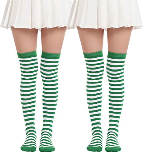 Women's Over Knee Long Sock Striped Thigh High Socks Girl Long Knitting Socks Cute Cosplay Stockings(2 Pairs Green White socks) - Knee High Striped Stockings