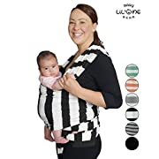 Baby Wrap, Ring Sling, Infant Carrier, Nursing Cover, Soft Cotton, Baby Shower Gift, Hands Free, Newborn, 5in1, W/Bonus Gift, Belly Band Support, Gray, 6 Colors Black by Lil One Baby Gear