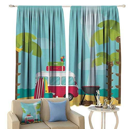colerapee Simple Curtain Explore Caravan Camping with Barbeque and Surf Boards Tropical Beach Banana Coconut Trees Blackout Multicolor