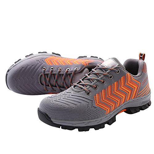 Men's Steel Shoes Gray Work Safety Shoes Orange Shoes Toe Optimal RdqXq