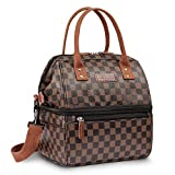 WODKEISLunch Bags for Women Wide Open Insulated Lunch Box With Double Deck Large Capacity Cooler Tote Bag With Removable Shoulder Strap Lunch Organizer For Picnic/Outdoor/Work(Brown)
