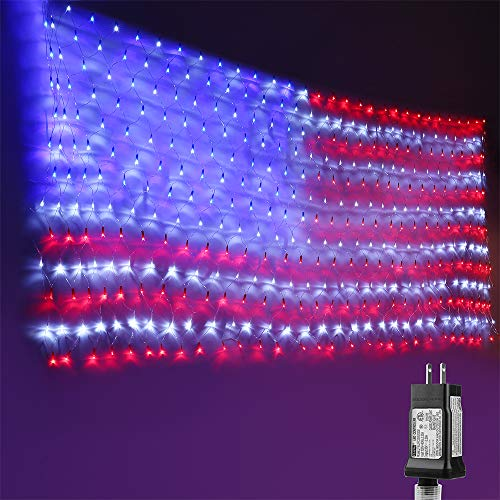 Lyhope Independence Day's Light Set, 390 LED American Flag Decorative Net Lights 6.56ft x 3.28ft Low Voltage Patriotic String Lights for USA Memorial Day, Garden, Indoor, Outdoor Decor(Red,White,Blue)