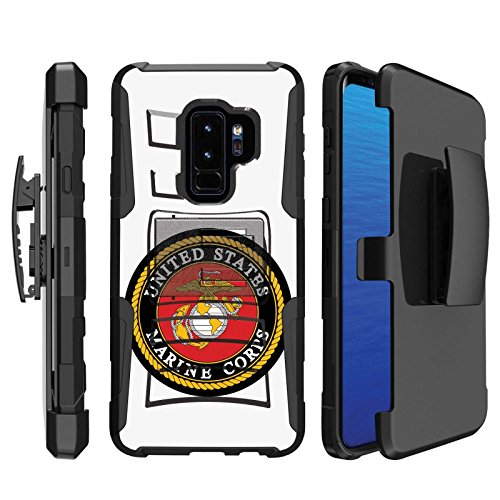 [Naked Shield] Samsung Galaxy S9Plus/S9 PLUS [Black] Military Combat Armor Case (Holster) (KickStand) [USMC Print] - Usmc Shield