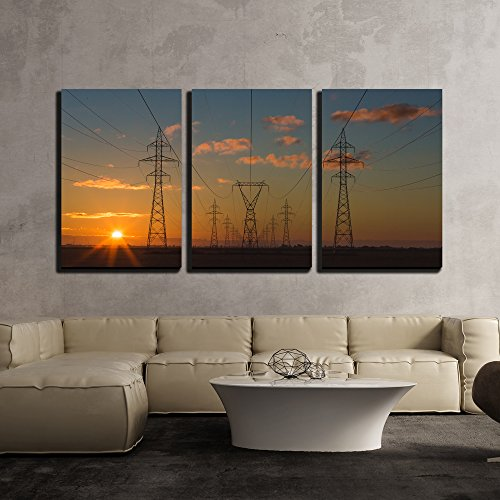 wall26 - 3 Piece Canvas Wall Art - Beautiful Silhouette of Electricity Towers During Sunset - Modern Home Decor Stretched and Framed Ready to Hang - 24