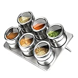 Magnetic Spice Tins, Sleek and Stylsh Stainless Steel Storage jars, Anti Rust & Well-organized Storage Function , 6 Jars & Rack & Magnet Bottom