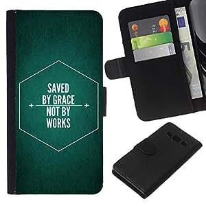 KLONGSHOP // Tirón de la caja Cartera de cuero con ranuras para tarjetas - BIBLIA Ahorrado por la tolerancia - Samsung Galaxy A3 //
