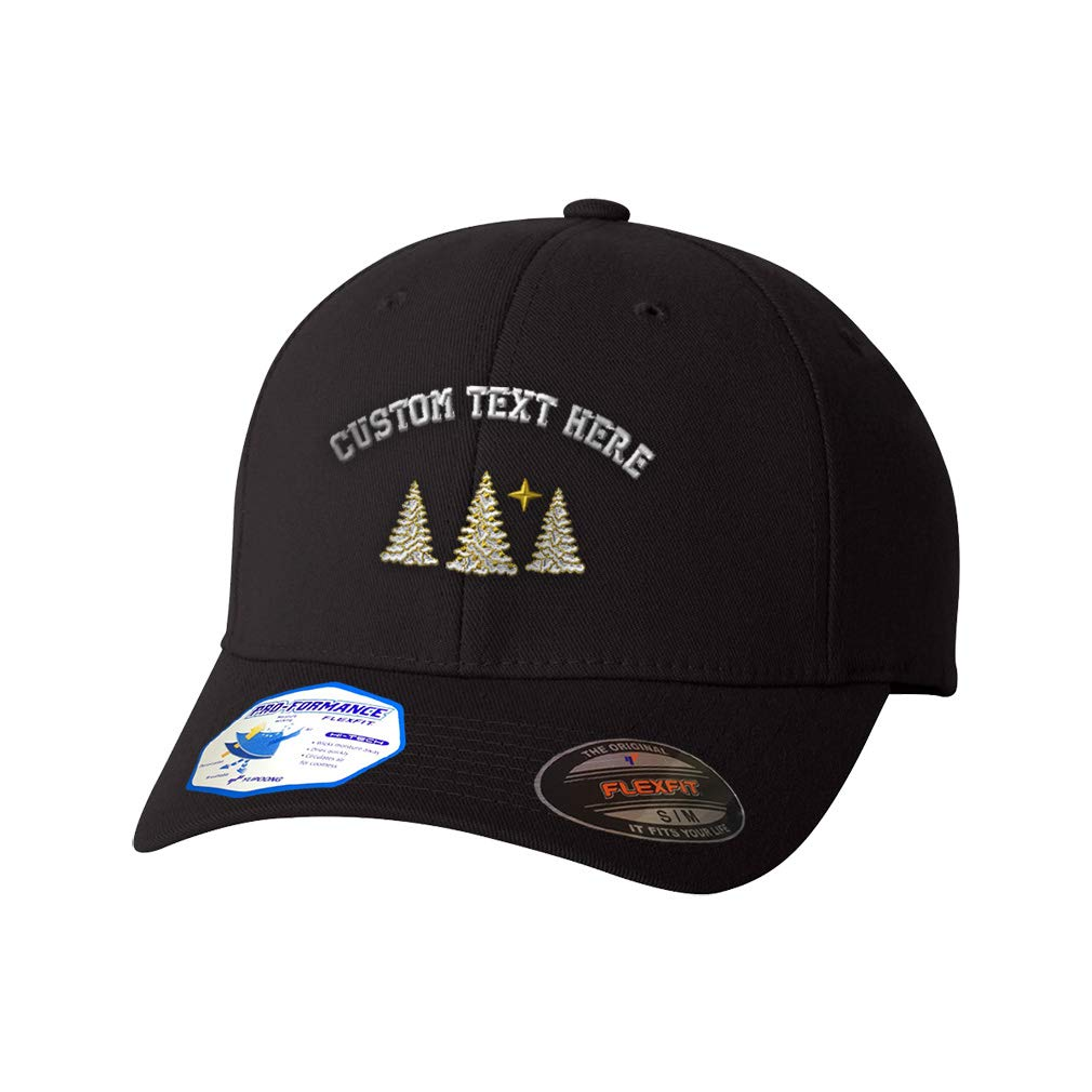 Custom Flexfit Hats for Men /& Women Christmas Snow Covered Trees Embroidery