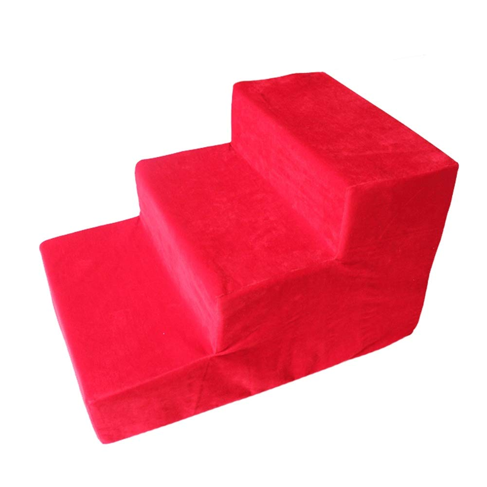 Pet stairs Red, Pet Ladder for Cats Dogs to Sofa, Bed, Living Room, Extra Wide Inner Core Sponge