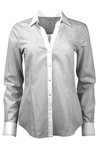 Brooks Brothers Womens Striped Non-Iron Contrast Stitch V-Neck Button Down Shirt Black/White (10) (Brooks Brothers Womens Shirts)