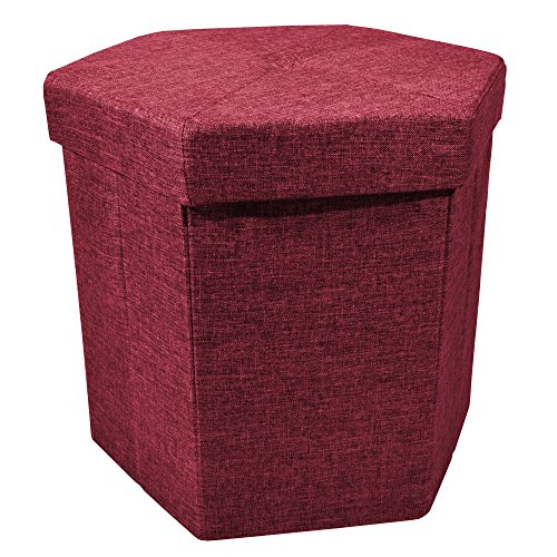 Upholstered Collapsible Hexagon Storage Ottoman with Padded Seat, Folding Bench and Foot Rest, Faux Linen, Burgundy, 15-inch