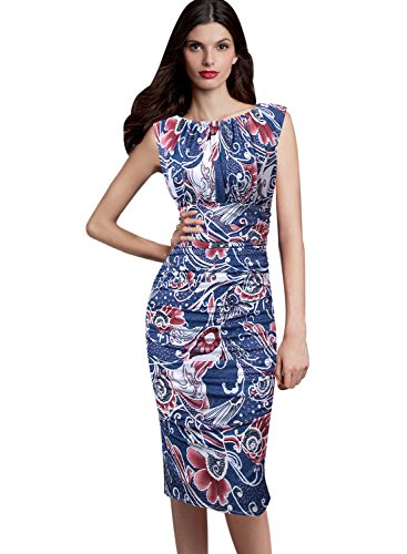 Ruffle Front Sheath Dress (VfEmage Womens Elegant Ruched Floral Print Casual Party Sheath Dress 9449 FLW S)