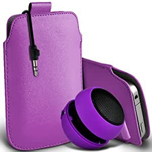 Nokia Lumia 900 premium protección PU ficha de extracción Slip Cord En la cubierta de la caja del filtro del bolsillo de la Piel y Mini recargable portátil de 3,5 mm Cápsula Viajes Bass Speaker Jack Lila por Spyrox