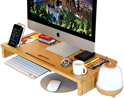 Genial Royal Craft Wood Computer Monitor Stand Riser   Laptop Stand And Desk  Organizer With Keyboard Storage And IPad Tablet Cellphone Slots   Stylish  Bamboo ...