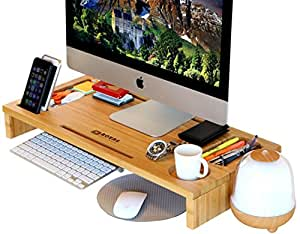 Computer Monitor Stand Riser - Laptop Stand and Desk Organizer with Keyboard Storage and IPad Tablet Cellphone Slots - Stylish Bamboo Printer IMac LCD TV PC Monitor Stands by Royal Craft Wood