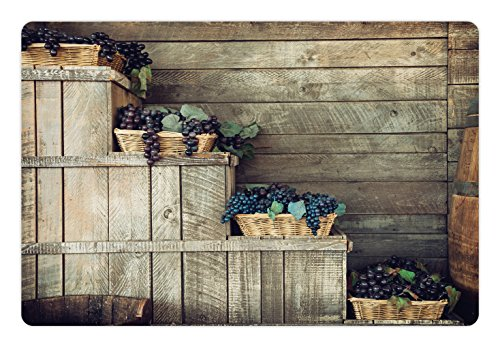 Vineyard Pet Mats for Food and Water by Ambesonne, Various Grapes in Wooden Wicker Basket Ivy Viniculture Gourmet Organic Photo, Rectangle Non-Slip Rubber Mat for Dogs and Cats, Brown Purple