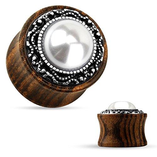 Dynamique Tribal Pattern Casting Around Imitation Pearl Center Organic Wood Saddle Plugs (Pair) ()