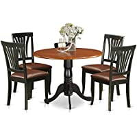 East West Furniture DLAV5-BCH-LC 5 Piece Dinette Table and 4 Chairs Set