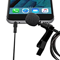 Lavalier Lapel Microphone Clip-on Omnidirectional Condenser Mic for Apple iPhone, iPad, iPod Touch, Samsung Android and Windows Smartphones Film Interviews Vocal Video Recording (Black)